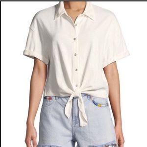 Splendid White Button Up Cropped Tie Front Shirt